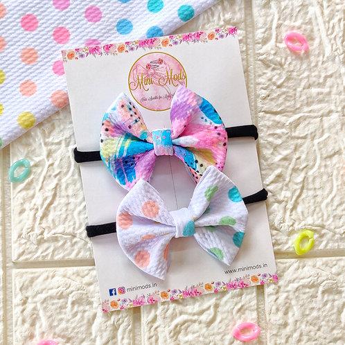 Pastel Polka Headband Set