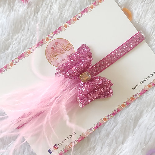 Feather Bow - Pink