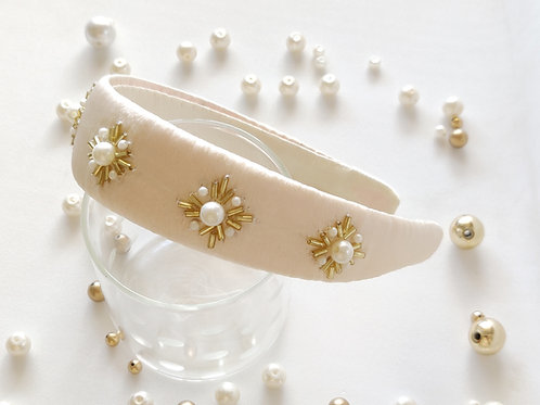 Gold Pearl Hairband - OffWhite