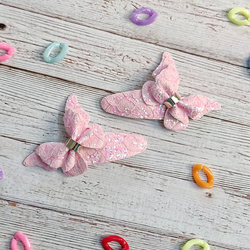 Lace Butterfly Snap Clip Set - Pink