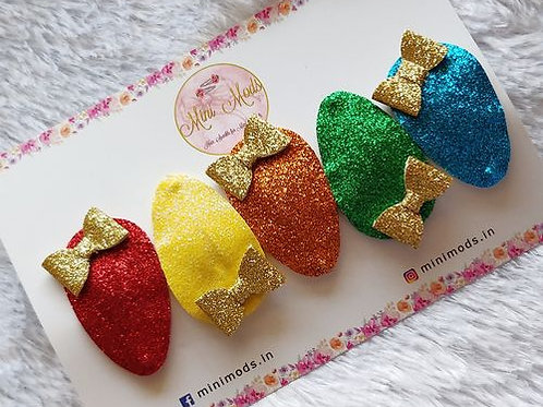 Glitter Snap Clip Set - Bright Rainbow