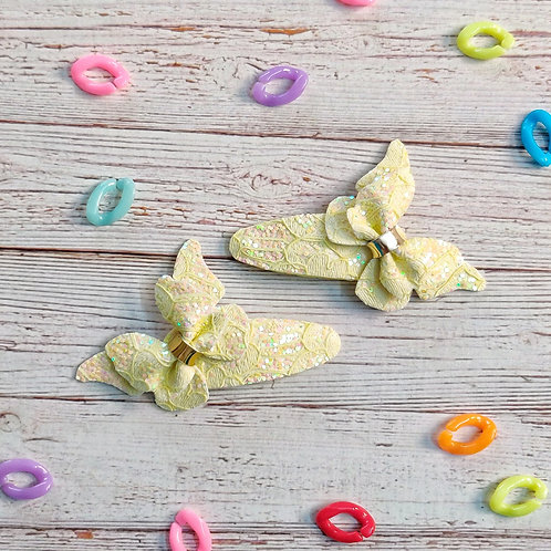 Lace Butterfly Snap Clip Set - Yellow