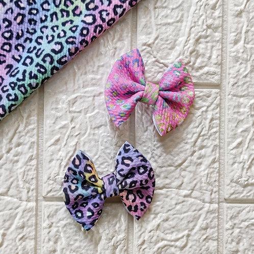Pastel Leopard Bow Set