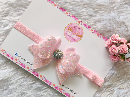 Princess Sparkle Bow  - Baby Pink