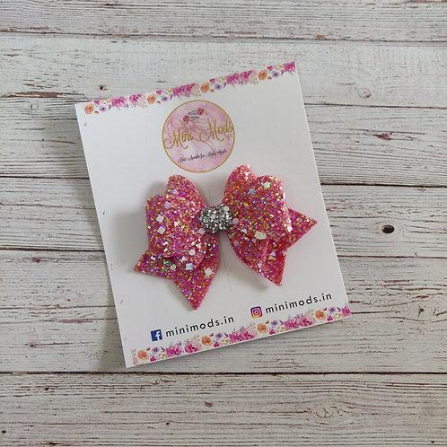 Princess Sparkle Bow Clip - Red