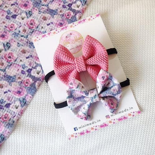 Rose Sweetheart Bow Headband Set