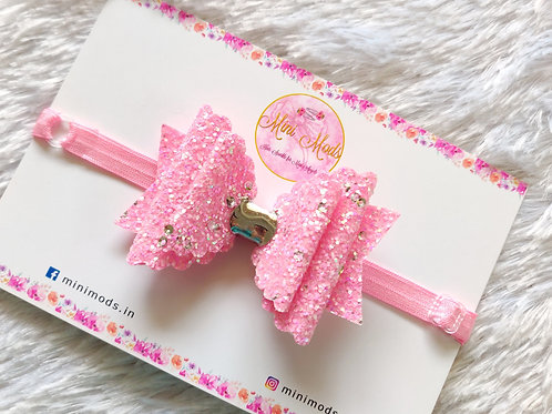 Sequence Glitter Bow - Pink