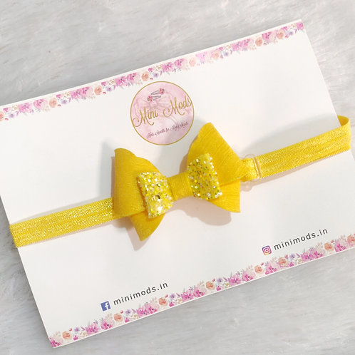 Butterfly Bow Headband -Yellow