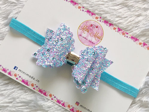 Sequence Glitter Bow - Blue