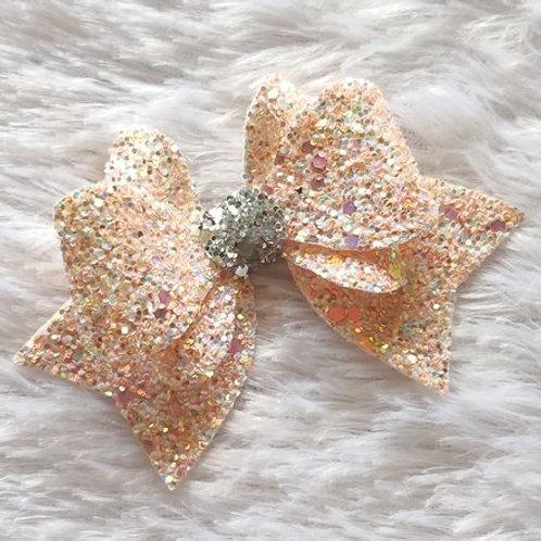 Princess Sparkle Bow Clip -Peach