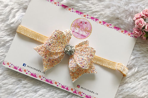 Princess Sparkle Bow -Peach