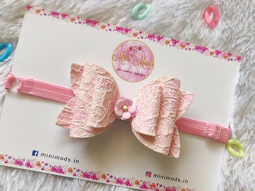 Pastel Lace Bows - Pastel Pink