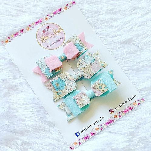 Pink & Aqua Floral Bow Set