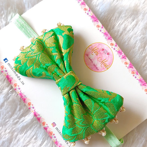 Banarasiya Bow Headband - Mint Green