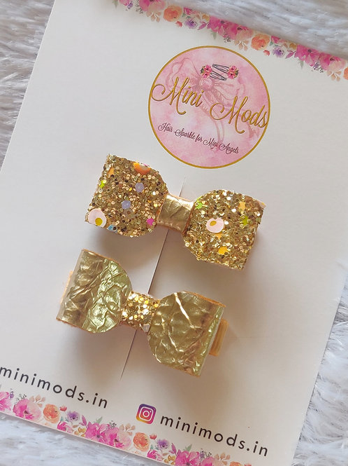 Gold Pigtail Bow Set