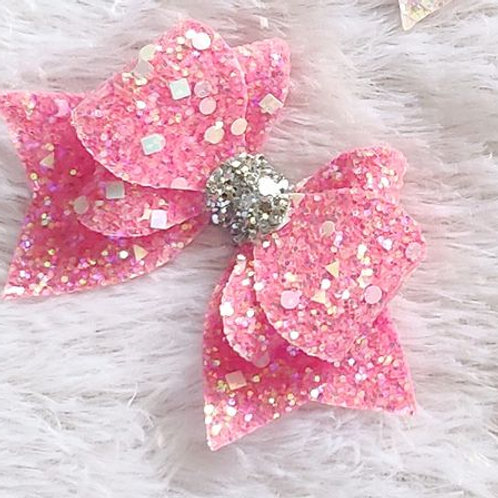 Princess Sparkle Bow Clip - Pink