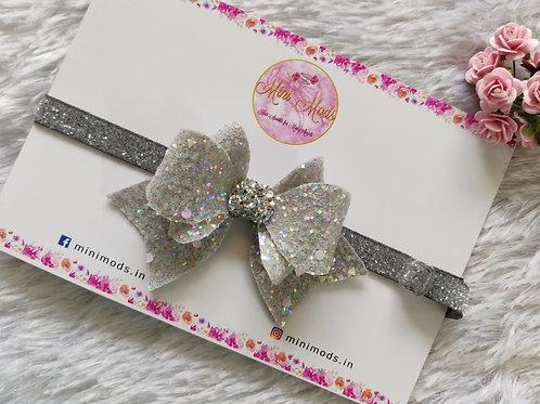 Princess Sparkle Bow Headband - Grey