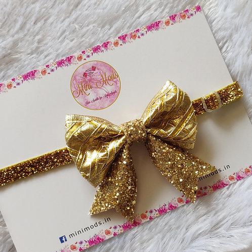 Evergreen Gota Bow Headband-Gold