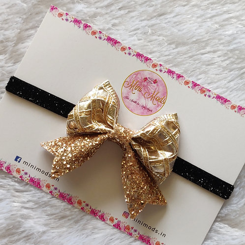 Evergreen Gota Bow Headband- Rose Gold