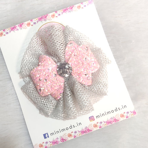 Glitter Fascino Hair Clip - Peachy Pink
