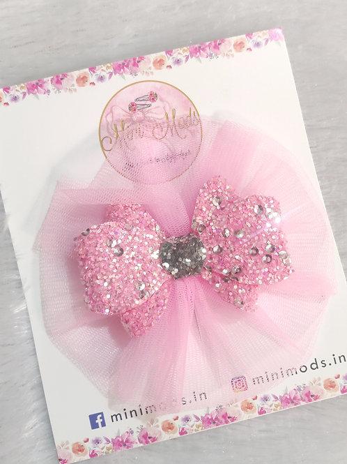Glitter Fascino Hair Clip - Pink