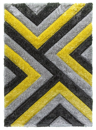 LUXUS CASCADE - SHAGGY RUG - GREY/YELLOW