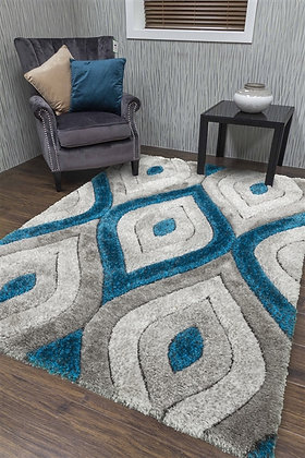 LUXUS TEARDROP - SHAGGY RUG - GREY/TEAL