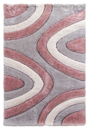 Luxus 3D Shaggy Rug - Ripple -Silve / Pink / Cream
