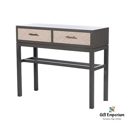 VANESSA 2 DRAWER CONSOLE TABLE STONE GREY