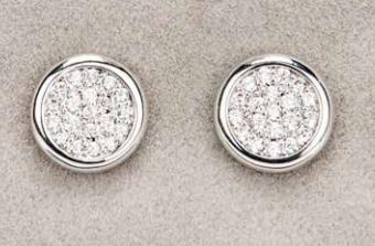 Silver Diamante Round Earrings