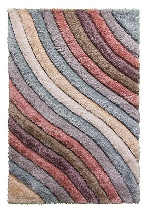 PASSION CURVES - 3D SHAGGY RUG - MULTICOLOUR