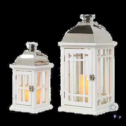 Wooden lanterns white/chrome m/s