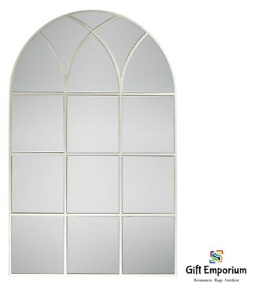 Palladian window mirror soft champagne