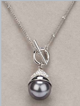 Grey Pearl T Bar Necklace