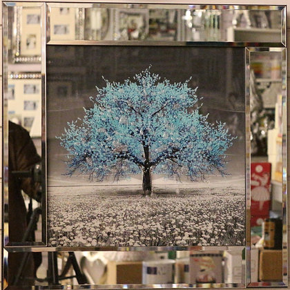 Light Blue Mirrored Tree Picture
