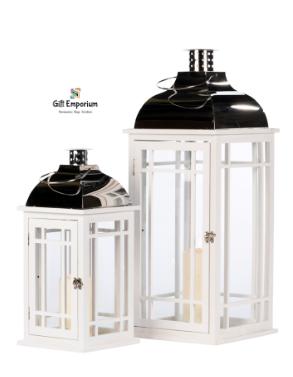 Wooden lanterns (Set of 2) white/chrome