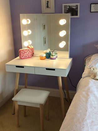 Wooden Dressing Table with Hollywood Mirror & 6 LED Lights with Stool