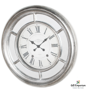 Mirrored clock antique silver