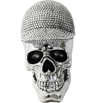 """8.5"""" Electroplated Skull with Hat"""