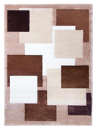 Tempo Square Rug-Brown/Beige