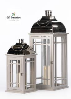 Wooden lanterns (Set of 2) grey/chrome