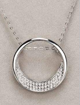 Silver Half Moon Diamante Pendant