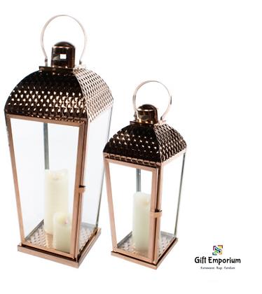 Set of 2 lanterns chromed copper