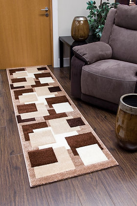 TEMPO SQUARES RUNNER RUG - BROWN/BEIGE