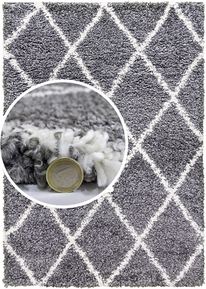 SHAGGY - DARK GREY / CREAM Fireside Rug