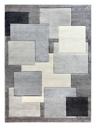 Tempo Square Rug-Grey