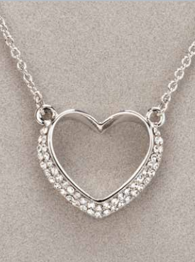 Silver Diamante Heart Necklace