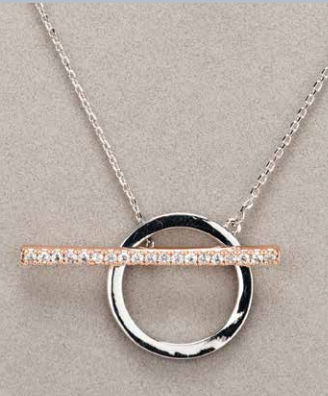 Silver & Rose Gold Diamante T Bar Necklace