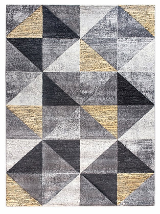 Impulse Triad Geometric Rug – Grey/Black/Yellow