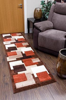TEMPO SQUARES RUNNER RUG - BROWN/TERRA